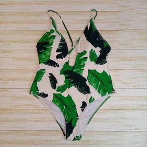 Cupshe Women's White One Piece Swimsuit Green Palm Leaf Print, Large